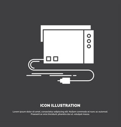 Audio card external interface sound icon glyph vector