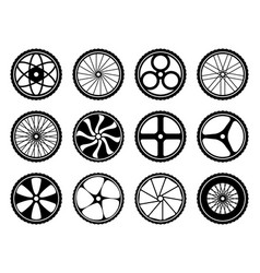bicycle wheels set with tires and spokes bike vector image