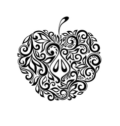 black and white apple decorated floral pattern vector image