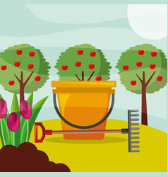 bucket rake apple trees and flowers gardening vector image