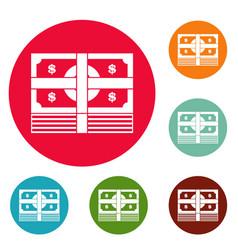 bundle banknote icons circle set vector image