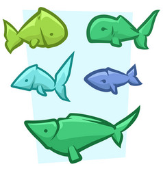 cartoon funny colored fish icon set vector image