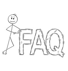 Cartoon of man or businessman leaning on big faq vector