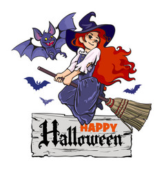 cartoon vampire bat and cute young witch flying on vector image