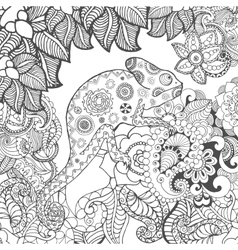 Chameleon in fantasy flowers vector image