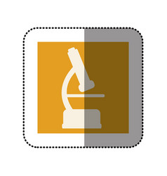color sticker square with microscope icon vector image