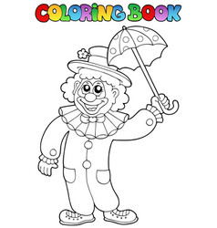 Coloring book with happy clown 6 vector