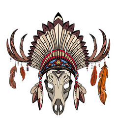 coloring drawing deer skull with horns native vector image