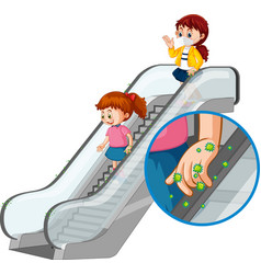 Coronavirus theme with people touching escalator vector