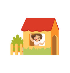 cute little girl playing house kid having fun on vector image