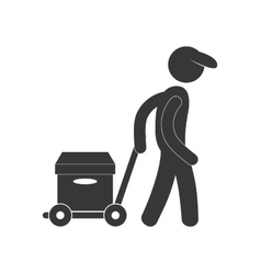 Delivery man hand car box figure pictogram vector