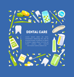 Dental service banner template dentistry tools vector