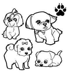 Dog cartoon and dog paw print coloring book vector