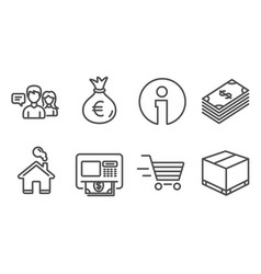 Dollar money bag and delivery shopping icons vector
