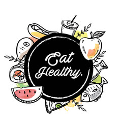 eat healthy circle food background image vector image