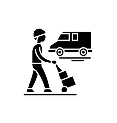 express logistics black icon sign on vector image