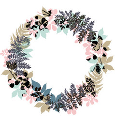 Fall or autumn wreath with seasonal leaves great vector