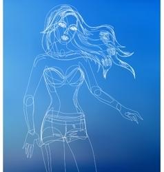 Fashion beautiful woman drawn vector