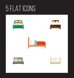 Flat bedroom set of bearings furniture mattress vector