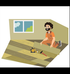 Floor installing male working with parquet poster vector