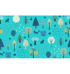 Forest trees seamless pattern vector