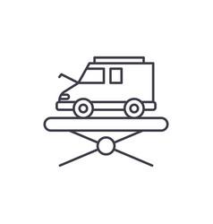 forklift line icon concept forklift linear vector image