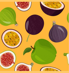 Fresh fruits seamless pattern green apples figs vector