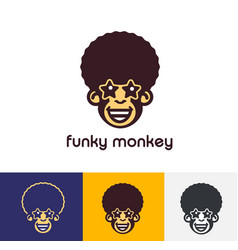 Funky monkey logo template vector