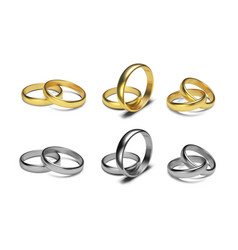 Golden rings isolated on white background vector