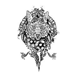 Graphic black fox vector image