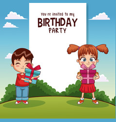 Happy birthday card with kids and gifts vector