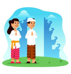 hindu boy and girl cartoon character in front of vector image