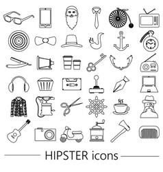 Hipster theme and culture set of outline icons vector