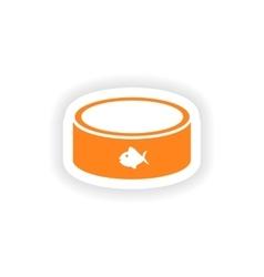 Icon sticker realistic design on paper cat bowl vector
