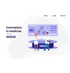 innovations in medicine - cartoon people in lab vector image