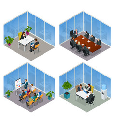 Isometric business people talking conference vector