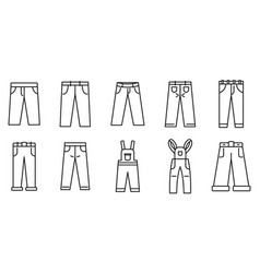 Jeans icons set outline style vector