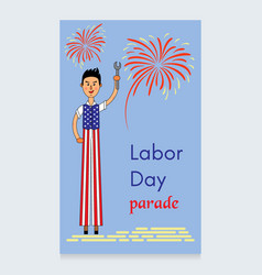 labor day design a man on stilts dressed vector image