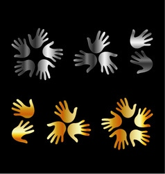 Logo with hands in gold and silver vector image