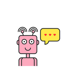 love messages through chatbot icon vector image
