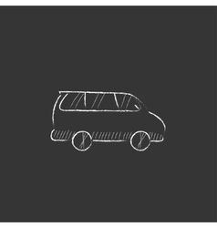 Minivan Drawn in chalk icon vector
