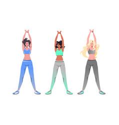 Mix race women doing yoga fitness exercises vector