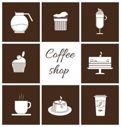Monochrome set of coffee items vector image