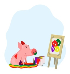 Paints a picture of a pig vector