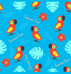 pattern with cute parrot and tropical leaves vector image