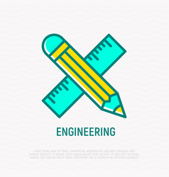 pencil and ruler are crossed thin line icon vector image