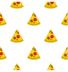 Piece of pizza with sausage pattern seamless vector