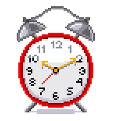 Pixel retro alarm clock isolated vector