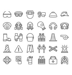 Protective equipment and firefighter outline icon vector