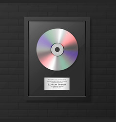 Realistic cd and label in glossy black vector